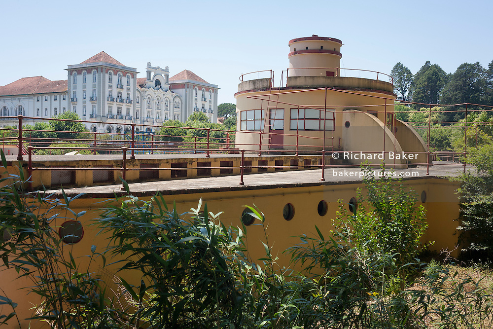 The Palace Hotel (1920s) and its adjoining Piscina-Praia Paraiso lido pool (1932) in the spa resort of Curia, Portugal.