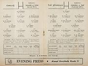 All Ireland Senior Hurling Championship Final,.Programme,.05.09.1954, 09.05.1954, 5th September 1954,.Cork 1-9, Wexford 1-6,.Minor Dublin v Tipperary, .Senior Cork v Wexford,.Croke Park,..Cork Senior Team, D Creedon, Goalkeeper, Glen Rovers, Co Cork, G O'Riordan, Right corner-back, Blackrock, Co Cork, J Lyons, Full-back, Glen Rovers, Co Cork, A O'Shaughnessy, Left corner-back, St Finbarr's, Co Cork, M Fouhy, Right half-back, Carrigtwohill, Co Cork, V Twomey, Centre half-back, Glen Rovers, Co Cork, D Hayes, Left half-back, Blackrock, Co Cork, G Murphy, Midfielder, Midelton, Co Cork, W Moore, Midfielder,  Carrigtwohill, Co Cork, W G Daly, Right half-forward, Carrigtwohill, Co Cork, J Hartnett, Centre half-forward, Glen Rovers, Co Cork, C. Ring, Captain, Left half-forward, Glen Rovers, Co Cork, G Clifford, Right corner-forward, Glen Rovers, Co Cork, E Goulding, Centre forward, Glen Rovers, Co Cork, P Barry, Left corner-forward, Sarsfield, Co Cork, Substitutes, G Brohan, Blackrock, Co Cork, S O'Brien, Glen Rovers, Co Cork, D O'Sullivan, Glen Rovers, Co Cork, M Cashman, Blackrock, Co Cork, T O'Sullivan, Buttevant, Co Cork,..Wexford Senior Team, A Foley, Goalkeeper, St Aidan's Enniscorthy, Co Wexford, W Rackard, Right corner-back, Rathnure, Co Wexford, N. O'Donnell, Full-back, St Aidan's Enniscorthy, Co Wexford, M O'Hanlon, Left corner-back, Horeswood, Co Wexford, Jas English, Right half-back, Rathnure, Co Wexford, R Rackard, Centre half-back, Rathnure, Co Wexford, Ed Wheeler, Left half-back, Piercetown St Martin's, Co Wexford, Jas. Morrissey, Midfielder, Piercetown St. Martin's, Co Wexford, J Hearne, Midfielder, Ardcolm, Co Wexford, Patk. Kehoe, Right half-forward, Cushenstown, Co Wexford, T Flood, Centre half-forward, Cloughbawn, Co Wexford, Padge Kehoe, Captain, Left half-forward, St Aidan's Enniscorthy, Co Wexford, T Ryan, Right corner-forward, St. Aidan's Enniscorthy, N Rackard, Centre forward, Rathnure, Co Wexford, R O'Donovan, Left corner-forward, Piercetown St. Ma