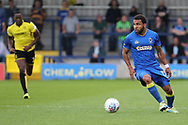 AFC Wimbledon striker Andy Barcham (17) dribbling and starting an attack during the Pre-Season Friendly match between AFC Wimbledon and Burton Albion at the Cherry Red Records Stadium, Kingston, England on 21 July 2017. Photo by Matthew Redman.