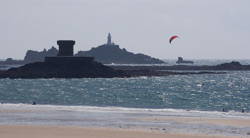 windsurfing at St Ouens Bay, Jersey