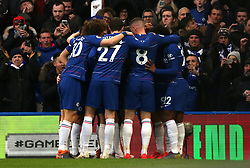 Chelsea's Gonzalo Higuain celebrates scoring his side's first goal of the game with team mates