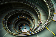 """Giuseppe Momo's """"modern"""" """"Bramante"""" spiral staircase built in 1932 at the exit to the Vatican Museum, Vatican City, Italy. Like the original, it is a double helix, which allows people to ascend without meeting people who are descending."""
