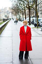 Vika Gazinskaya  wearing red coat is seen outside Valentino during Paris Fashion Week Womenswear Fall/Winter 2018/2019 on March 4, 2018 in Paris, France.  (Photo by Nataliya Petrova/NurPhoto/Sipa USA)