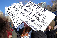 Over 10,000 marched from Battery Park on Jan. 20, 2017, in New York City to voice opposition to President Donald Trump's proposed travel ban. (Photo by Matt Smith)