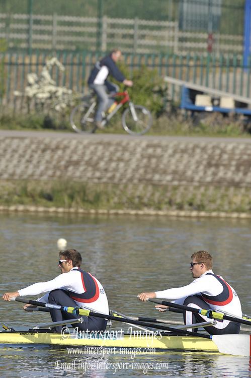 Caversham, Great Britainn - GBR M2X,  BowMatt WELLS and Steve ROWBOTHAM, Morning training, Redgrave Pinsent Rowing Lake. GB Rowing Training Centre. WED 29.04.2009  [Mandatory Credit. Peter Spurrier/Intersport Images]