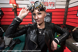 Some interesting goggles were available in the Custom and Tuning Show, the custom bike show portion of the big Motor Spring bike show in Moscow, Russia. Sunday April 23, 2017. Photography ©2017 Michael Lichter.