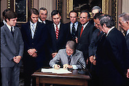 President Carter signing the Amendment to the Marine Research and Sanctuaries Act on November 4, 1977.  <br /> Photo by Dennis Brack