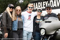 Harley-Davidson's Karen Davidson with her brother Bill Davidson and his family at the Born Free Motorcycle Show (BF11) at Oak Canyon Ranch, Silverado  CA, USA. Saturday, June 22, 2019. Photography ©2019 Michael Lichter.