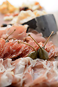 Closeup image of a plate of antipasto created as part of a menu item from the Chef's Table in Stuart, Florida
