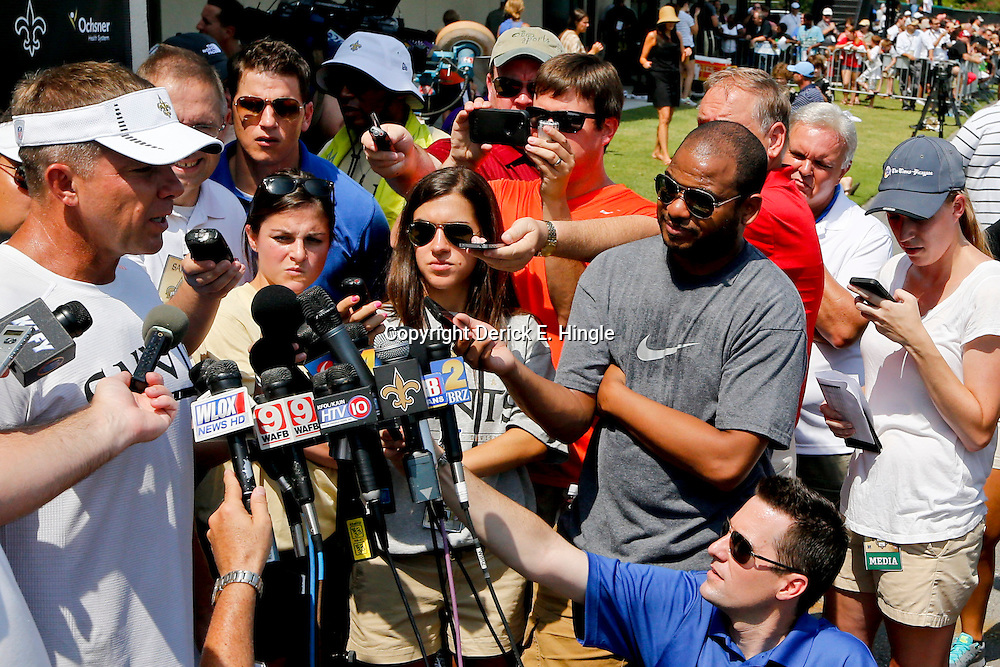 Jul 26, 2013; Metairie, LA, USA; New Orleans Saints head coach Sean Payton addresses the media following the first day of training camp practice at the team facility. Mandatory Credit: Derick E. Hingle-USA TODAY Sports