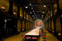 Wine cellars at Merryvale, where not only wine tasting is conducted but elaborate dinners are served.  Nearly three quarters the size of France, California accounts for nearly 90 percent of the entire American wine production. The production in California alone is one third larger than that of Australia. If California were a separate country, it would be the world's fourth largest wine producer.