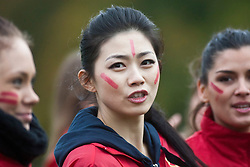 Chen Liu, Miss China during the Miss World Highland Games..The Miss World 2011 contestants take part in a highland games in the grounds of Crieff Hydro, Perthshire..MISS WORLD 2011 VISITS SCOTLAND..Pic © Michael Schofield.