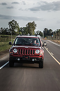 USA, Oregon, Willamette Mission State Park, Jeep Patriot driving. MR, PR