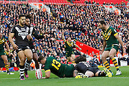 Australia's Trent Merrin scores a try during the Ladbrokes Four Nations match between Australia and New Zealand at Anfield, Liverpool, England on 20 November 2016. Photo by Craig Galloway.