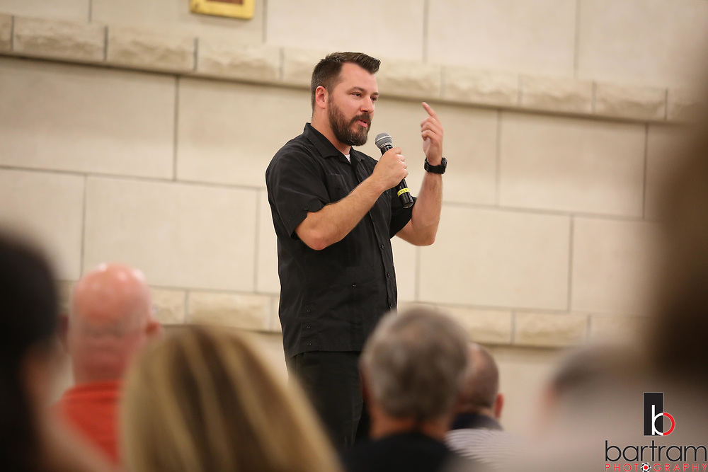 Father Paul Iverson speaks during RCIA class at St. Francis of Assisi Catholic Church in Frisco on Tuesday, April 4, 2017. (Photo by Kevin Bartram)