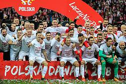 October 8, 2017 - Warsaw, Poland - Jakub Kwiatkowski, Maciej Rybus, Kamil Glik (POL), Robert Lewandowski (POL), Rafal Wolski, Przemyslaw Tyton, Maciej Makuszewski (POL), Piotr Zielinski (POL), Bartosz Bereszynski (POL), Marcin Kaminski (POL), Thiago Cionek, Pawel Wszolek (POL), Bogdan Zajac, Tomasz Kedziora, Grzegorz Krychowiak (POL), Karol Linetty, Krzysztof Maczynski (POL), Wojciech Szczesny (POL), Lukasz Teodorczyk, Michal Pazdan (POL),  during Poland and Montenegro World Cup 2018 qualifier match in Warsaw, Poland, on 8 October 2017. POLAND won 4-2 and take on their World Cup 2018 qualifier. (Credit Image: © Foto Olimpik/NurPhoto via ZUMA Press)