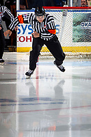 KELOWNA, BC - NOVEMBER 26: Referee Nick Panter enters the ice for third period at the Kelowna Rockets against the Edmonton Oil Kings  at Prospera Place on November 26, 2019 in Kelowna, Canada. (Photo by Marissa Baecker/Shoot the Breeze)