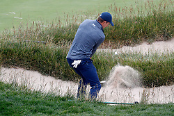 June 12, 2019 - Pebble Beach, CA, U.S. - PEBBLE BEACH, CA - JUNE 12: PGA golfer Jordan Spieth hits out of a sand trap on the 17th hole during a practice round for the 2019 US Open on June 12, 2019, at Pebble Beach Golf Links in Pebble Beach, CA. (Photo by Brian Spurlock/Icon Sportswire) (Credit Image: © Brian Spurlock/Icon SMI via ZUMA Press)