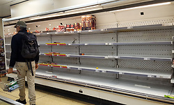 © Licensed to London News Pictures. 15/03/2020. London, UK. Iceland store in London runs out of meat products as panic-buying continues in supermarkets amid an increased number of coronavirus (COVID-19) cases in the UK. 35 coronavirus victims have died and 1,372 cases have tested positive of the virus in the UK. Photo credit: London News Pictures