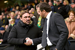 Norwich City manager Daniel Farke (left) and Fulham manager Slavisa Jokanovic shake hands before the Sky Bet Championship match at Carrow Road, Norwich.