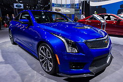 NEW YORK, USA - MARCH 23, 2016: Cadillac ATS-V on display during the New York International Auto Show at the Jacob Javits Center.