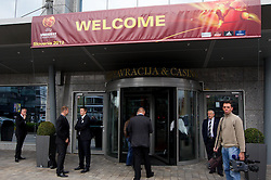 Entrance to the hotel during the Final Round Draw of 11th UEFA European U17 Championship 2011/12, on April 4, 2012, in Ljubljana, Slovenia. (Photo by Vid Ponikvar / Sportida.com)