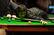 Ronnie O'Sullivan in action during his match against Mark Williams. 888 Welsh open snooker day 4 action at the Newport Centre in Newport , South Wales on Thursday 16th Feb 2012.  pic by Andrew Orchard, Andrew Orchard sports photography,