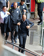 Pep Guardiola, the Manchester city manager puts his jacket on as he arrives at the stadium ahead of the game. Premier league match, Swansea city v Manchester city at the Liberty Stadium in Swansea, South Wales on Saturday 24th September 2016.<br /> pic by Andrew Orchard, Andrew Orchard sports photography.