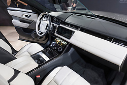 Interior view of new Land Rover Velar at 87th Geneva International Motor Show in Geneva Switzerland 2017