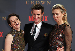 Claire Foy, Matt Smith and Vanessa Kirby attending the season two premiere of The Crown at the Odeon, Leicester Square, London. Picture date: Tuesday 21st November, 2017. Picture credit should read: Doug Peters/Empics Entertainment