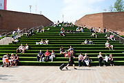 It was quite a surprise to see that the huge crescent shaped steps at Liverpool One, had been 'greened'. I loved it. It was now a huge interactive artwork sculpture and it softened the acres of concrete and brick in this modern urban environment.<br />