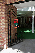 Henley on Thames, United Kingdom, 23rd June 2018, Saturday,   Leander Club's new, Wrought Iron gates and Brick  Bi centienary entrance, Henley Reach, River Thames, England, © Peter SPURRIER/Alamy Live News