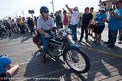 Jeff Tiernan of New York riding his 1913 Henderson leaves the start of the Motorcycle Cannonball Race of the Century. Stage-1 from Atlantic City, NJ to York, PA. USA. Saturday September 10, 2016. Photography ©2016 Michael Lichter.