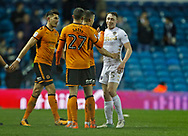 Leeds United defender Matthew Pennington and Wolverhampton Wanderers midfielder Romain Saiss  shake hands at full time during the EFL Sky Bet Championship match between Leeds United and Wolverhampton Wanderers at Elland Road, Leeds, England on 7 March 2018. Picture by Paul Thompson.