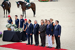 Prize giving consolation<br /> Ramon Catalan (President of CSIO Barcelona), Javier Revuelta (President of the Spanisch National federation), Ingmar De Vos (FEI Chief Executive Officer) HH Prince Mansour (Saudi Arabian Ambassador to Spain),<br /> Abdul Rahman Al Hazza'a (President of the Saudi Broadcasting Corporation)<br /> Team consolation competition<br /> Furusiyya FEI Nations Cup Jumping Final<br /> CSIO Barcelona 2013<br /> © Dirk Caremans