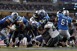 DETROIT - SEPTEMBER 19: Defensive end Trent Cole #58 of the Philadelphia Eagles tackles running back Jahvid Best #44 of the Detroit Lions on September 19, 2010 at Ford Field in Detroit, Michigan. The Eagles won 35-32. (Photo by Drew Hallowell/Getty Images)  *** Local Caption *** Trent Cole;Jahvid Best