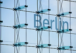 Detail of station name on glass facade of Berlin Hauptbahnhof or Central Station in Berlin Germany