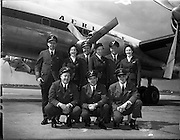 26/04/1958 <br /> 04/26/1958<br /> 26 April 1958<br /> Arrival of Seaboard Super Constellation due to begin Aer Lingus' first transatlantic service two days later. Picture shows the crew: Back row (l-r): Captain William Donahue Seaboard and Western; Rosalind McCarthy, Aer Lingus Chief hostess; J.E. O'Dwyer S and W Relief Captain; Joan Camman, Aer Lingus Hostess; R.J. McAllister, 1st oficer;  Miriam O'Donnell, Aer Lingus Hostess. Front row (l-r): Mike Green, navigator Seaboard and Western; Danny Breen, 1st engineer Seaboard and Western and Robert O'Donnell 2nd engineer Aer Lingus