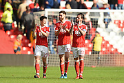 Nottingham Forest's Joe Lolley (23), Ben Brereton (17) and Danny Fox (13) applaud the Forest supporters after winning 2-1 during the EFL Sky Bet Championship match between Nottingham Forest and Ipswich Town at the City Ground, Nottingham, England on 14 April 2018. Picture by Jon Hobley.