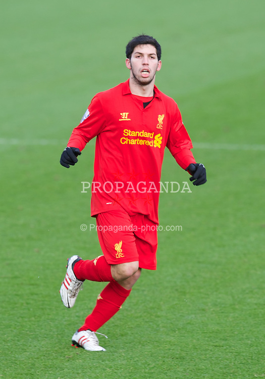 KIRKBY, ENGLAND - Monday, January 14, 2013: Liverpool's Daniel Pacheco in action against Southampton during the Under 21 FA Premier League match at the Kirkby Academy. (Pic by David Rawcliffe/Propaganda)