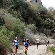 LOS ANGELES, CA, October 2, 2007: Runners enjoy the Santa Monica Mountains by way of Malibu Creek State Park on a fall day in September, 2007. (Photo by Todd Bigelow/Aurora)