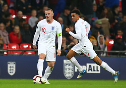 November 15, 2018 - London, United Kingdom - L-R England's Wayne Rooney and England's Trent Alexander-Arnold.during the friendly soccer match between England and USA at the Wembley Stadium in London, England, on 15 November 2018. (Credit Image: © Action Foto Sport/NurPhoto via ZUMA Press)
