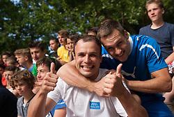 """Uros Zorman and Luka Zvizej during Handball Summer Camp named """"Zormanov rokometni tabor"""" on June 29, 2013 in Savudrija, Croatia. (Photo by Vid Ponikvar / Sportida.com)"""