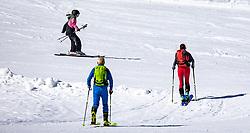 TEMENBILD - zwei Skitourengeher steigen über die präparierte Piste zu ihrem Tourenziel Resterkogel auf auf und kreuzen dabei die Route einer Skiläuferin. Pass Thurn, Sonntag 15. März 2020 // two ski tourers climb the prepared ski slope to their tour destination on Resterkogel and crossing the route of a skier. Pass Thurn, Sunday March 15, 2020. EXPA Pictures © 2020, PhotoCredit: EXPA/ Johann Groder