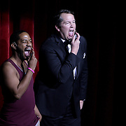 Tracy Byrd and Jeff Phillips perform a skit for the opening of the Wilmington Theater Awards at Thursday January 23, 2014 at Thalian Hall. (Jason A. Frizzelle)