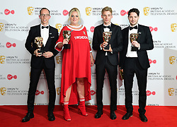 Simon Mayhew-Archer, Daisy May Cooper, Charlie Cooper and Tom George with their awards for Best Scripted Comedy in the press room at the Virgin TV British Academy Television Awards 2018 held at the Royal Festival Hall, Southbank Centre, London.