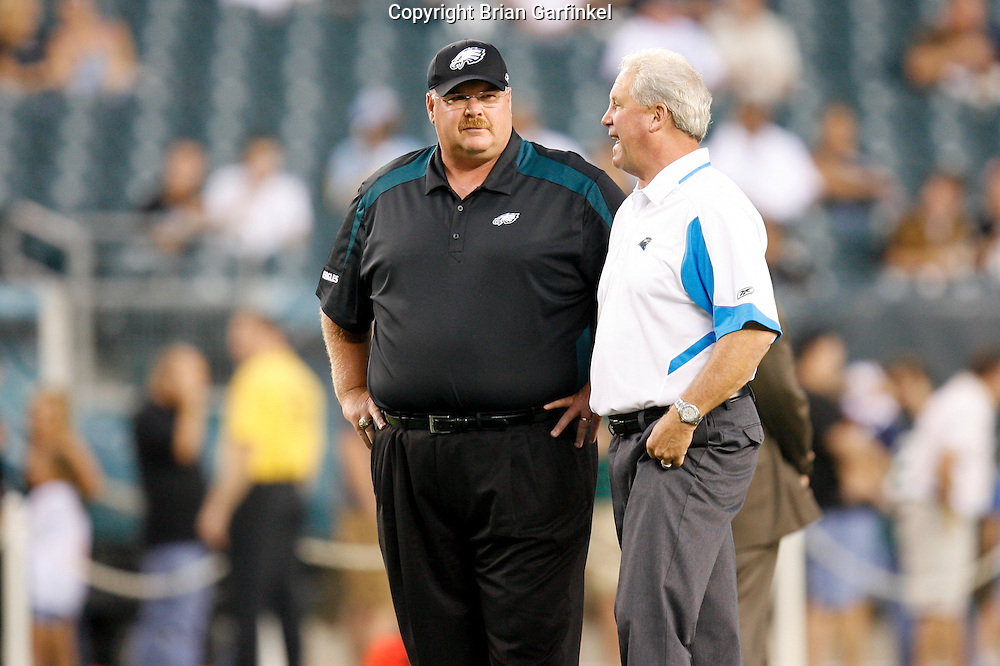 8 August 2008: Head Coach Andy Reid talks to Carolina Panther Head Coach John Fox before the game against the Carolina Panthers on August 14, 2008. The Eagles beat the Panthers 24 to 13 at Lincoln Financial Field in Phialdelphia, Pennsylvania.