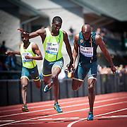 Kirani James ((left) of Grenada ran a 43.97 dead heat with Lashawn Merritt (right) of the USA in the Prefontaine Classic Men's 400m. The Prefontaine Classic, the longest-running international invitational meet in the United States, turns 40 this year.<br /> The 2014 elite competition held in Eugene, Oregon at the University of Oregon's historic Hayward Field is in it's 5th year hosting the IAAF's Diamond League event.