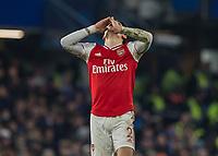Football - 2019 / 2020 Premier League - Chelsea vs. Arsenal<br /> <br /> Hector Bellerin  (Arsenal FC) celebrates after scoring at Stamford Bridge <br /> <br /> COLORSPORT/DANIEL BEARHAM