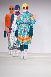 © Licensed to London News Pictures. 02/06/2014. London, England. Birmingham City University, collection by Charlotte Armistead. Graduate Fashion Week 2014, Runway Show at the Old Truman Brewery in London, United Kingdom. Photo credit: Bettina Strenske/LNP